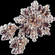 Beau Jewels Rhinestone Brooch Pin Earrings Demi Parure Set Unsigned