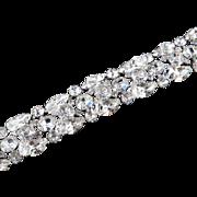 Kramer Rhinestone Glass Bead Dangle Bracelet Rhodium Plate