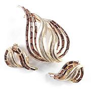 Kramer Baguette Rhinestone Leaf Brooch Pin Earrings Demi Parure Set