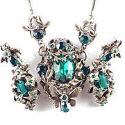 Bug Butterfly Rhinestone Art Glass Necklace Dangle  Earrings Demi Parure Set