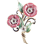 Enamel Rhinestone Pot Metal Flower Brooch Pin