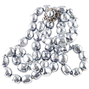 Miriam Haskell Glass Baroque Faux Pearl Necklace