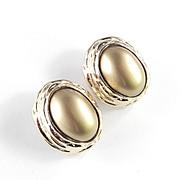 Joanne Cooper Ciner Bronze Moonglow Cabochon Earrings Pristine