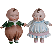 German All Bisque Happifat Boy & Girl - 4 inches