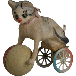 Whimsical German Mechanical Cat Toy - 8 Inches Long