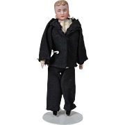 German Dollhouse Gentleman with Molded Mutton Chops