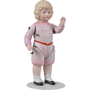 Large Hertwig All Bisque Child with Molded Clothes - 6.5 inches