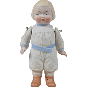 Hertwig All Bisque Boy with Molded Clothes - 5 inches