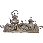 Elegant Sterling Silver Miniature Tea Service with Tray