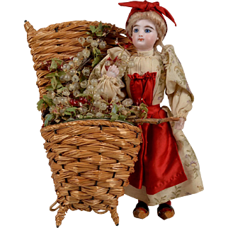 Outstanding F.G. Lady Doll French Candy Container - All Original