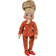 Unusual Merrythought Googly Chef Cloth Doll - 17 inches