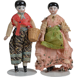 Unusual Pair of Small China Head Dolls - 4 inches tall