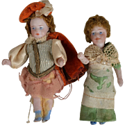 Pair of Lilliputian All Bisque Dolls - All Original - 2.5 inches tall