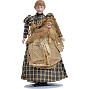 Dollhouse Governess with Child - 6.75 inches tall