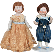 German Brother & Sister All Bisque Dolls - 6.25 inches tall