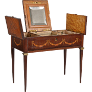Ornate Inlaid Mahogany Miniature Dressing Table