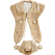 Awesome Antique Doll's Faux Fur Collar and Muff on Original Display Card