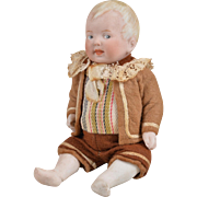Unusual Limbach Character All Bisque Baby Boy - 6 Inches Tall