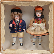 Pair of All Bisque Children with Original Box