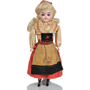 Wonderful German Shoulder Head Doll with Original Costume - 7 Inches