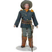 Unusual All Original All Bisque Soldier - 3.5 Inches