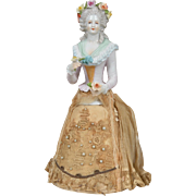 Fancy German Half Doll with Original Base - 9.25 inches tall