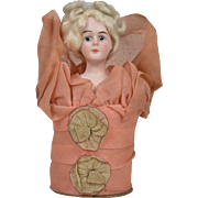 Fancy Bust Candy Container with Bisque Lady Head - 6 Inches