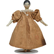 Tiny Grodnertal Peg Wooden Doll - 3.75 Inches