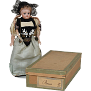 All Original S&H 950 Berne Switzerland Provincial Dressed Doll with Original Box - 8 Inches