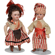 Tiny Pair of All Original French Dolls