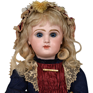 Hold for J Beautiful Blue Eyed Tete Jumeau Bebe - Size 7 - 16.5 Inches Tall