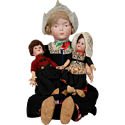 "All Original Kley & Hahn 526 Character ""Dutch: Girl  & Two Small German ""Dutch"" Dolls"
