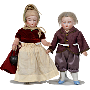 Pair of Small German All Bisque Dolls