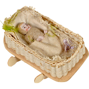 All Bisque Baby and Cradle - 2 Inch Baby