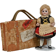 Tiny All Bisque Doll in Suitcase - 3.75 Inches