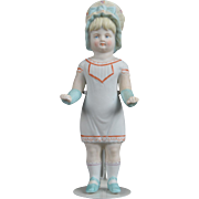 Lovely Bisque Frozen Charlotte with Molded Bonnet and Clothing - 6 Inch
