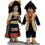 All Original Pair of German Dolls in Regional Costumes - 7 Inch