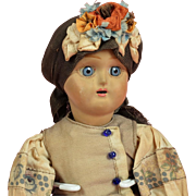 All Original Russian Pottery Head Doll - 12 Inch