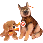 Pair of Steiff Dogs - Mohair Arco German Shepherd and Waldi Dachshund