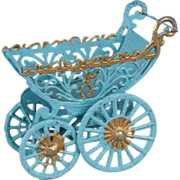 Miniature German Soft Metal Doll Carriage - 3.25 Inches