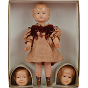 Rare German Celluloid Doll Set with Interchangeable Heads
