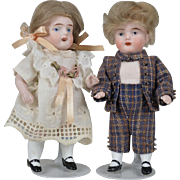 All Bisque Brother and Sister Pair 5 Inches