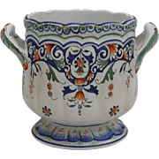 Antique French Faience Rouen-Style Cachepot
