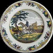Antique Large Horseman Hunter Platter Choisy le Roi