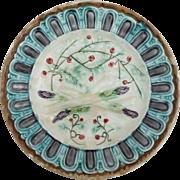 Antique Majolica Asparagus Berries Plate