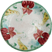 Antique Majolica Orchid Plate Luneville