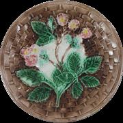 Antique Majolica Blackberries Plate