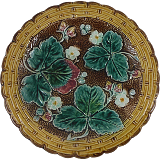 Antique English Majolica Strawberry Plate