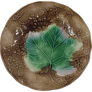 Antique Majolica Grape & Strawberry Plate
