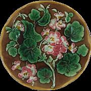 Antique 19th Majolica Geranium Plate